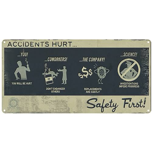 Portal 2 Safety First Tin Wall Sign