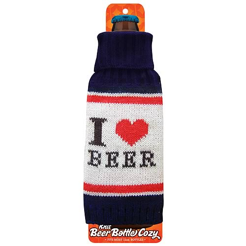 I Love Beer Navy Blue Beer Bottle Knit Cozy