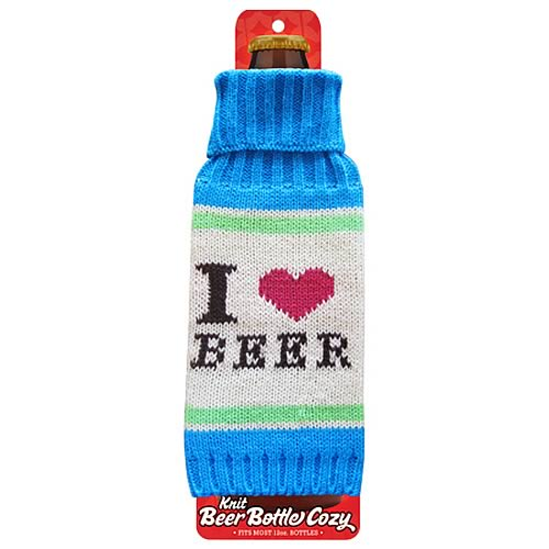 I Love Beer Light Blue Beer Bottle Knit Cozy