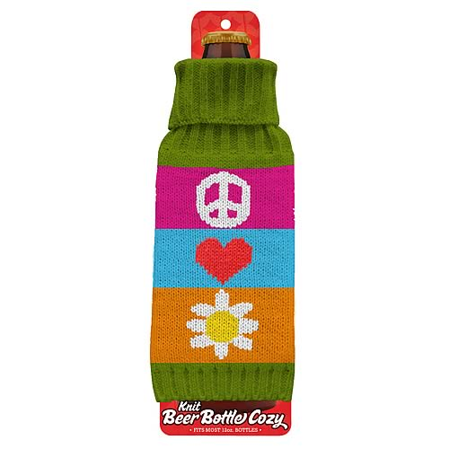 Funky Floral Beer Bottle Knit Cozy