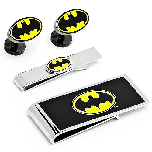 Batman Logo Money Clip, Tie Bar, and Cufflinks Gift Set