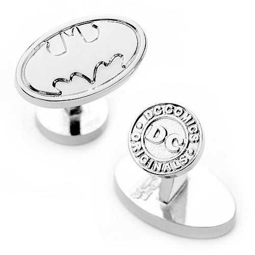 Batman Logo Silver Oval Cufflinks