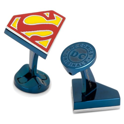 Superman_Shield_Logo_Blue_Stainless_Steel_Cufflinks