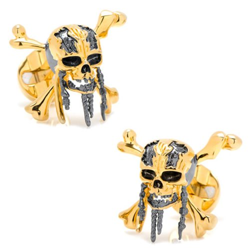 Pirates of the Caribbean Black and Gold Skull and Crossbones 3D Cufflinks