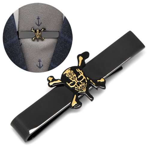 Pirates of the Caribbean Black and Gold Skull and Crossbones Tie Bar