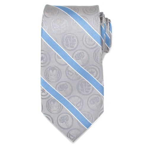 Marvel_Comics_Gray_and_Blue_Stripe_Mens_Silk_Tie