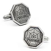Spider-Man Comic Logo Silver Cufflinks