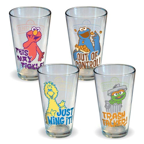 Sesame Street Retro Quotes Pint Glass 4-Pack