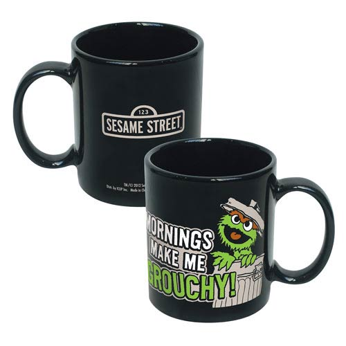 Sesame Street Oscar Mornings Make Me Grouchy Ceramic Mug