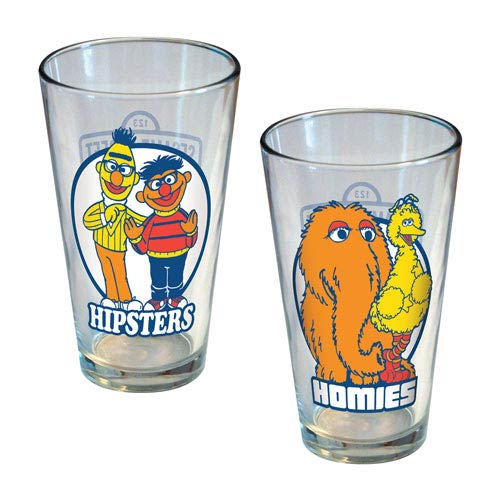 Sesame Street Hipsters and Homies Pint Glass 2-Pack