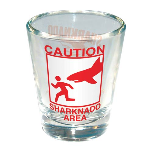 Sharknado Caution Sharknado Area Shot Glass