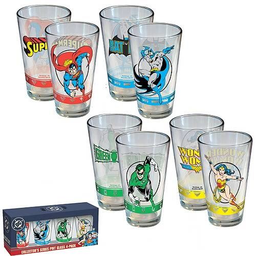 DC Comics Hero Pint Glass 4-Pack
