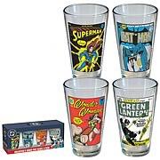 DC Comics Vintage Comic Cover Pint Glass 4-Pack