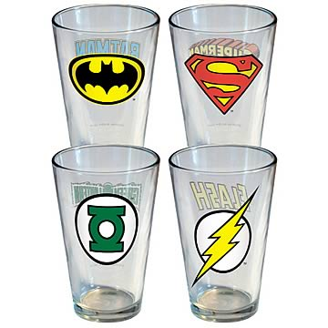 DC Comics Insignia Pint Glass 4-Pack