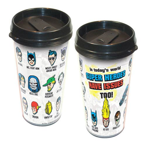 DC Superheroes Have Issues Too Acrylic Travel Mug