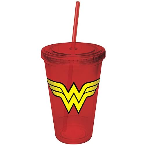 Wonder Woman Red Plastic Cup with Straw