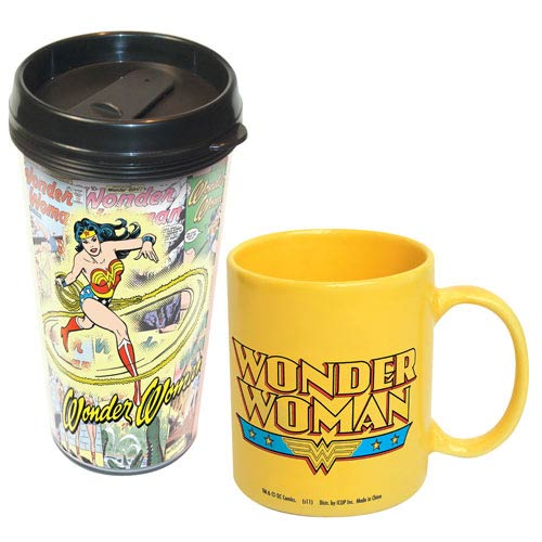Wonder Woman Acrylic Travel Mug and Ceramic Mug 2-Pack