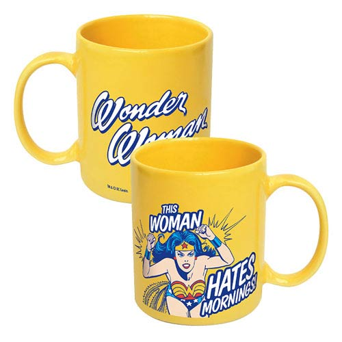 Wonder Woman This Woman Hates Mornings Yellow Ceramic Mug