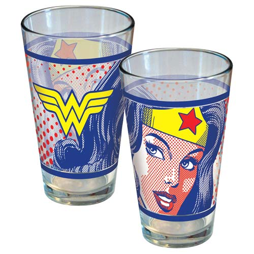 Wonder Woman Pop Art Face Pint Glass