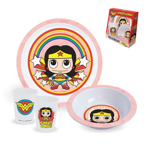 Wonder Woman Plate, Bowl, and Cup 3-Piece Kids Set