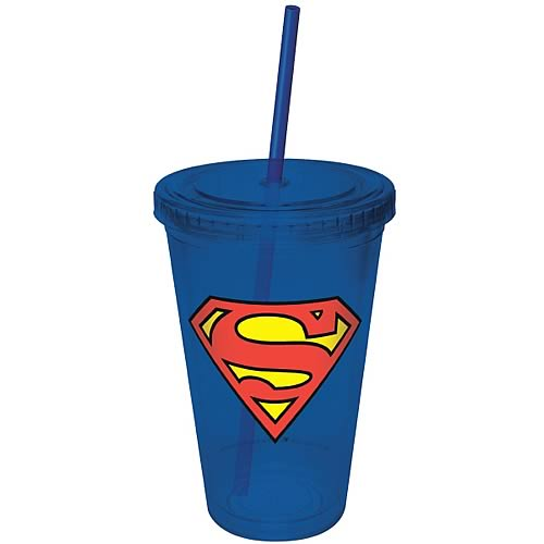 Superman Blue Plastic Cup with Straw