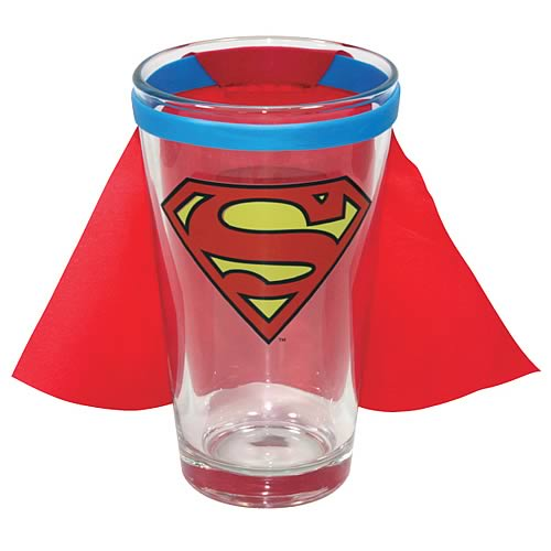 Superman DC Comics Chest Logo Caped Pint Glass