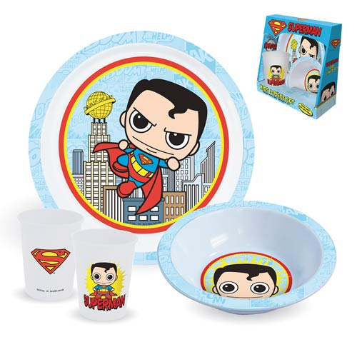 Superman Plate, Bowl, and Cup 3-Piece Kids Set