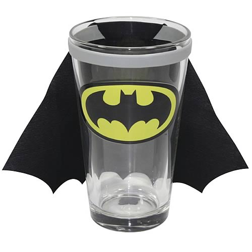 Batman DC Comics Chest Logo Caped Pint Glass