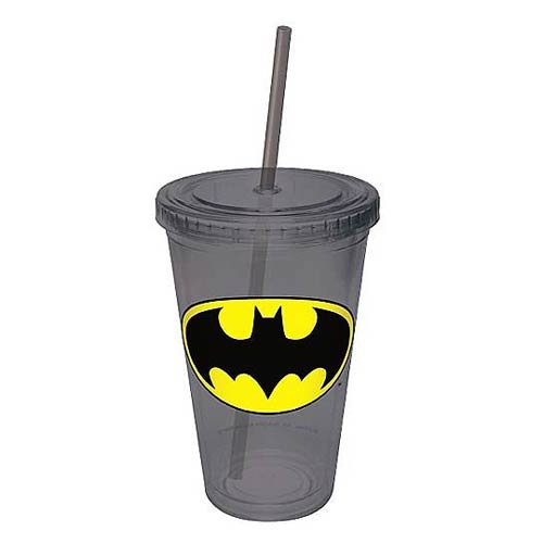 Batman Gray Plastic Cup with Straw