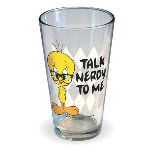 Looney Tunes Tweety Talk Nerdy To Me Pint Glass