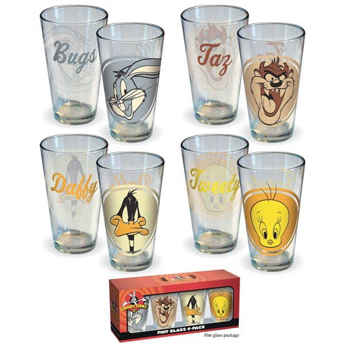 Looney Tunes Retro Head Shots Pint Glass 4-Pack
