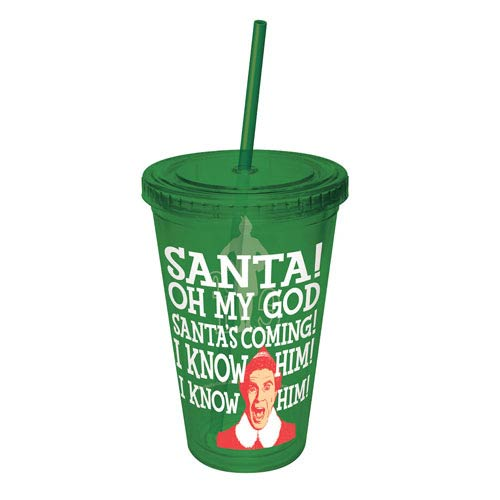 Elf Santa Oh My God Santa's Coming Acrylic Travel Cup