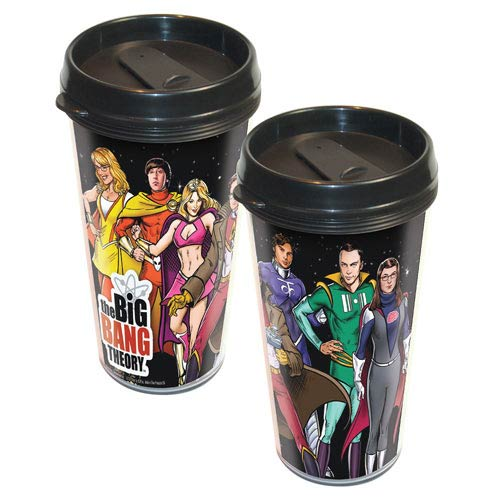 Big Bang Theory Cast Superheroes Travel Mug