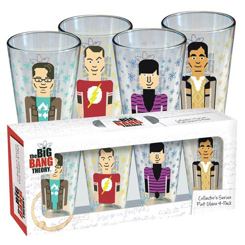 Big Bang Theory Pixelated Characters Pint Glass 4-Pack