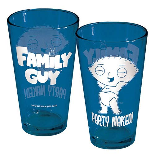 Family Guy Stewie Party Naked Blue Pint Glass