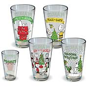 Peanuts Holiday Pint Glass 4-Pack
