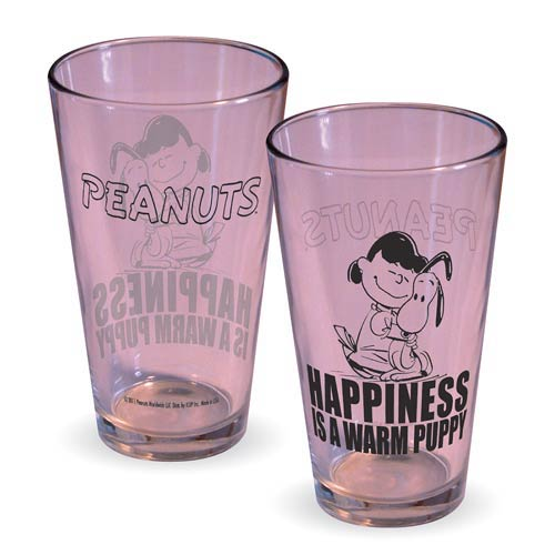 Peanuts Lucy Happiness Is A Warm Puppy Pint Glass