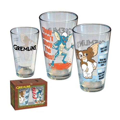 Gremlins Gizmo and Stripe Cartoon Pint Glass 2-Pack