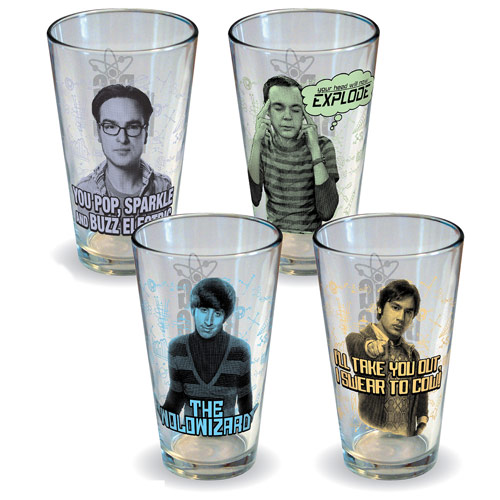 The Big Bang Theory Characters Pint Glass 4-Pack