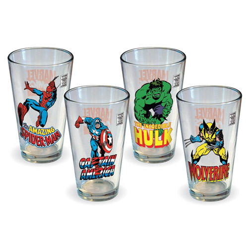Marvel Comics Heroes Pint Glass 4-Pack