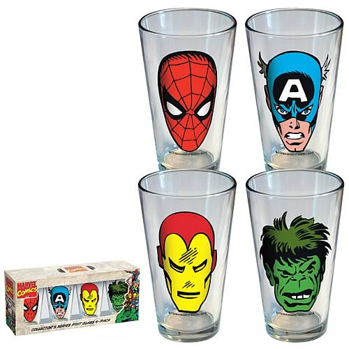 Marvel Heroes Faces Pint Glasses 4-Pack