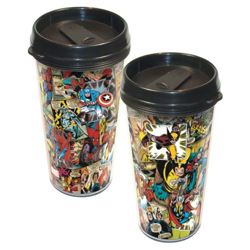 Marvel Comics Collage Plastic Travel Mug