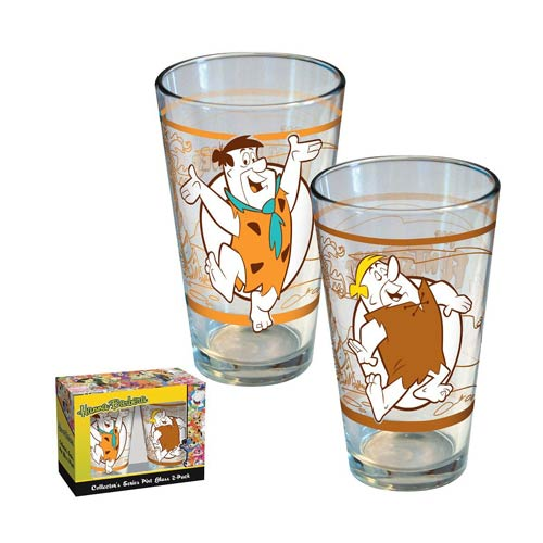The Flintstones Fred and Barney Retro Pint Glass 2-Pack