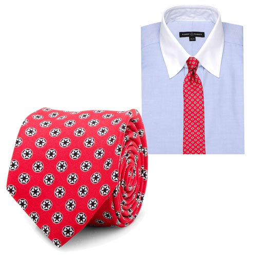 Star Wars Imperial Symbol Pattern Red Silk Skinny Tie