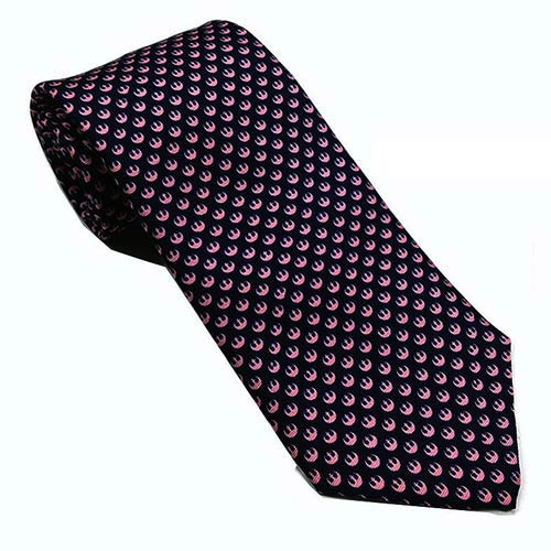 Star Wars Rebel Alliance Navy and Pink Silk Skinny Tie