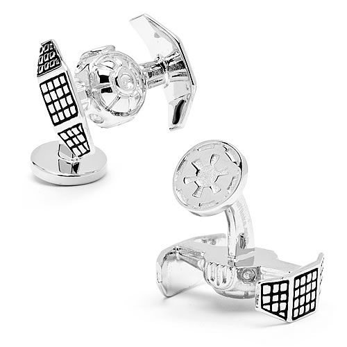 Star Wars TIE Fighter Silver 3-D Palladium Cufflinks