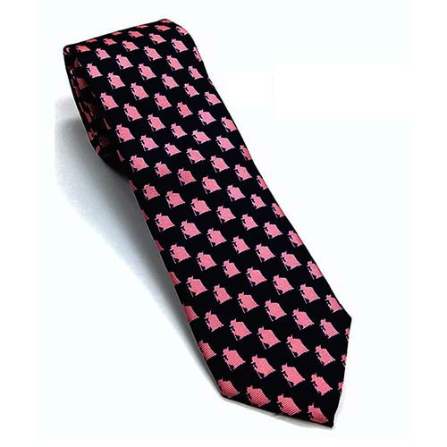 Star Wars Yoda Pattern Navy and Pink Italian Silk Tie