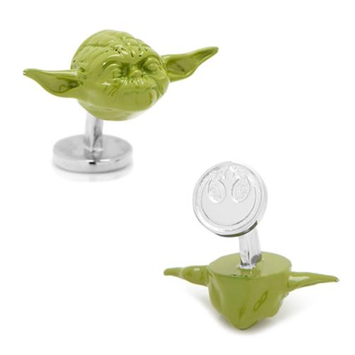 Star Wars Yoda Head Green 3D Cufflinks
