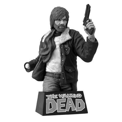 Walking Dead Black and White Rick Grimes Bust Bank