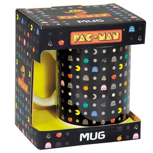 Pac-Man Repeat Print 11 Oz. Ceramic Black Mug